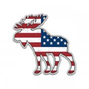 Moose American Flag USA Wildlife Sticker Decal (LH)