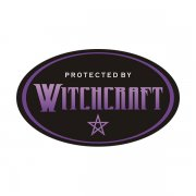 Protected by Witchcraft Magic Spell Oval Euro Sticker Decal