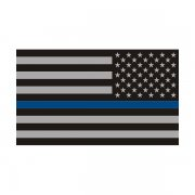 Thin Blue Line American Subdued Flag Sticker Decal (LH)