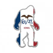 Iowa State Flag Bigfoot Decal IA Sasquatch Big Foot Sticker V2