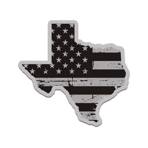 Texas State Map Tattered Subdued American Flag TX Texan Sticker Decal