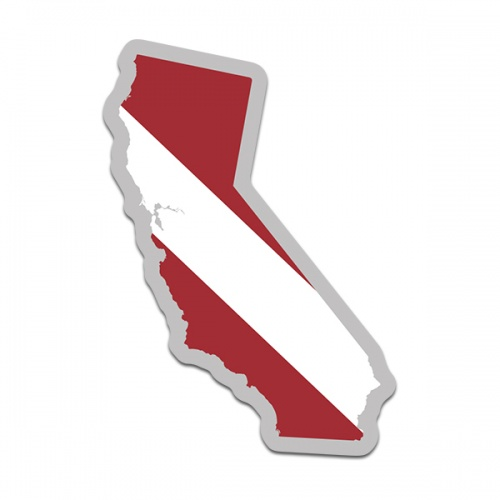 California State Shaped Dive Flag Decal CA Map Vinyl Sticker