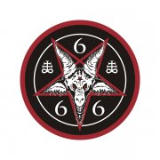 Baphomet 666 Blk/Red Inverted Pentagram Sticker Decal