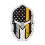 American Flag Thin Gold Line Spartan Helmet Decal Dispatcher Sticker