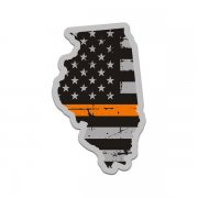 Illinois State Thin Orange Line Decal IL Tattered American Flag Sticker