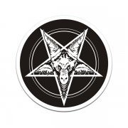Baphomet Blk/Wht Inverted Pentagram Occult Sticker Decal V1
