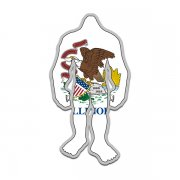 Illinois State Flag Bigfoot Decal IL Sasquatch Big Foot Sticker