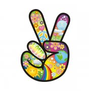 Peace Hand Decal Sun Flower Hippie Anti-War Symbol Vinyl Sticker