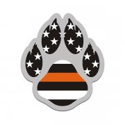 K-9 Paw American Flag Thin Orange Line Search Rescue K9 Unit Sticker Decal V2