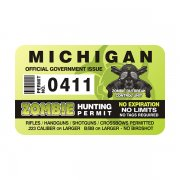 "Michigan Zombie Hunting Permit 4"" Sticker Decal"