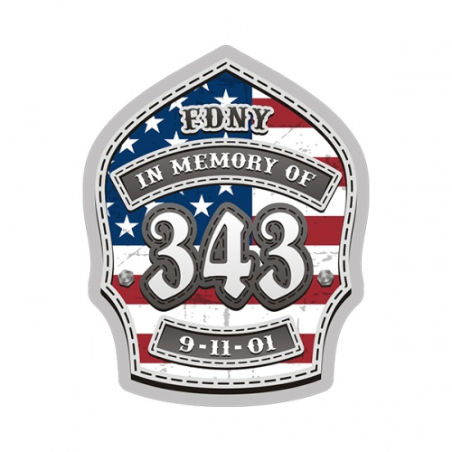 9/11 Memorial 343 Firefighter Helmet Shield USA American Flag Sticker Decal