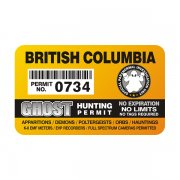 "British Columbia Ghost Hunting Permit 4"" Sticker Decal"
