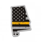 Alabama State Thin Gold Line Decal AL Tattered American Flag Sticker