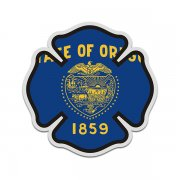 Oregon State Flag Firefighter Decal OR Fire Rescue Maltese Cross Sticker