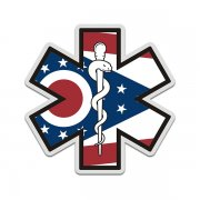 Ohio State Flag Star of Life OH EMT Paramedic EMS Sticker Decal
