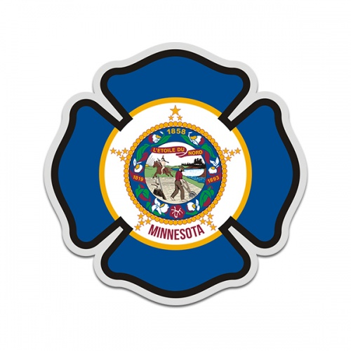 Minnesota State Flag Firefighter Decal MN Fire Rescue Maltese Cross Sticker