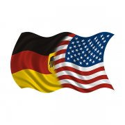 American German Waving Flag Decal USA Germany Car Vinyl Sticker (LH)