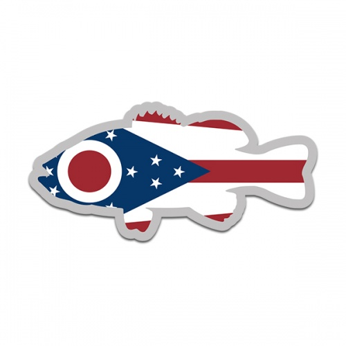 Ohio State Flag Bass Fish Decal OH Largemouth Fishing Sticker