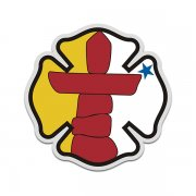Nunavut Flag Firefighter Decal NU Fire Rescue Maltese Cross Sticker