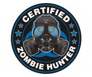 Certified Zombie Hunter Badge Gas Mask Blue Outbreak Sticker Decal