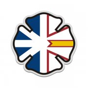 Newfoundland Labrador Flag Firefighter Decal NL Fire Maltese Cross Sticker