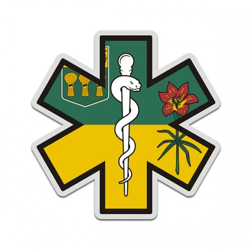 Saskatchewan Flag Star of Life SK EMT Paramedic EMS Sticker Decal