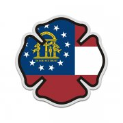 Georgia State Flag Firefighter Decal GA Fire Rescue Maltese Cross Sticker