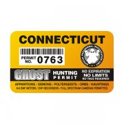"Connecticut Ghost Hunting Permit 4"" Sticker Decal"