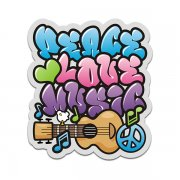 Peace Love Music 60's Hippie Flower Power Vinyl Sticker Decal
