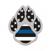 K-9 Paw American Flag Thin Blue Line Police Sheriff K9 Unit Sticker Decal V2
