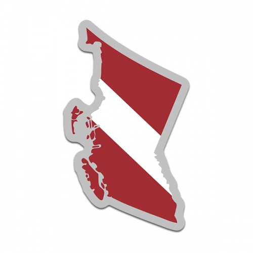 British Columbia Province Shaped Dive Flag Decal Canada BC Map Vinyl Sticker