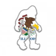 Illinois State Flag Bigfoot Decal IL Sasquatch Big Foot Sticker V2