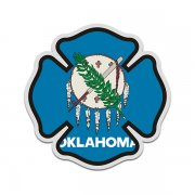 Oklahoma State Flag Firefighter Decal OK Fire Rescue Maltese Cross Sticker