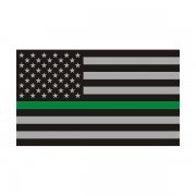 Thin Green Line American Subdued Flag Sticker Decal (RH)