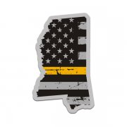 Mississippi State Gold Line Decal MS Tattered American Flag Sticker