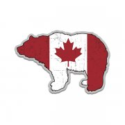 Bear Canada Flag Grizzly Kodiak Canadian Sticker Decal (LH)