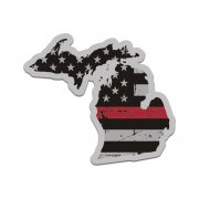 Michigan State Thin Red Line Decal MI Tattered American Flag Sticker