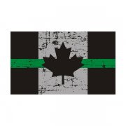 Tattered Thin Green Line Canada Subdued Flag Canadian Sticker Decal