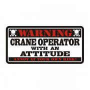 Crane Operator Warning Decal Construction Vinyl Hard Hat Sticker