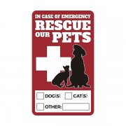 "Rescue Our Pets 6"" Fire Emergency Window Sticker Decal"