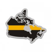Canada Thin Gold Line Decal Canadian 911 Dispatcher Vinyl Sticker