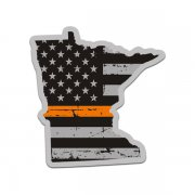 Minnesota State Thin Orange Line Decal MN Tattered American Flag Sticker