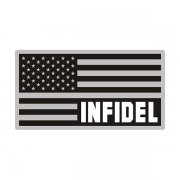 American Subdued Blk/Gray USA Flag Infidel Sticker Decal V3