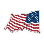 American Flag United States US USA Waving Reverse Decal Sticker (LH) V4