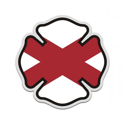 Alabama State Flag Firefighter Decal AL Fire Rescue Maltese Cross Sticker