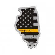 Illinois State Thin Gold Line Decal IL Tattered American Flag Sticker
