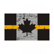 Tattered Thin Gold Line Canada Subdued Flag Canadian Sticker Decal