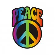 Tye Dye Peace Symbol Sticker Decal