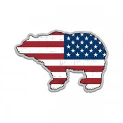 Bear American Flag Grizzly Kodiak USA Sticker Decal (LH)