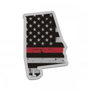 Alabama State Thin Red Line Decal AL Tattered American Flag Sticker